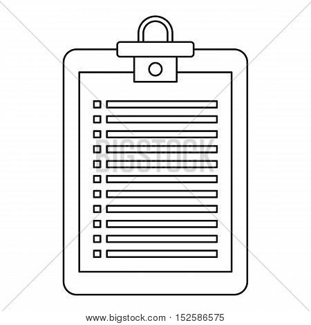 Checklist icon. Outline illustration of vector icon for web