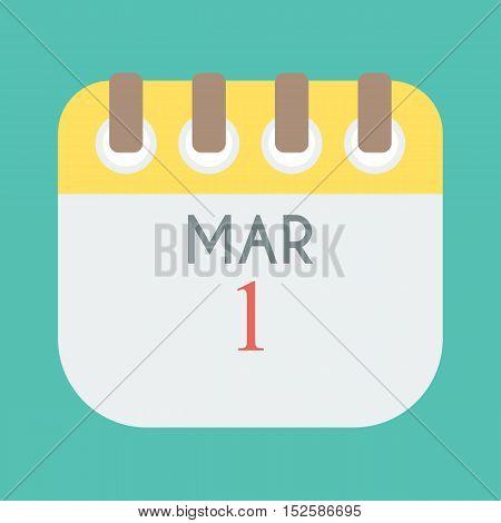 Calendar on white paper note. Illustration 1 mar