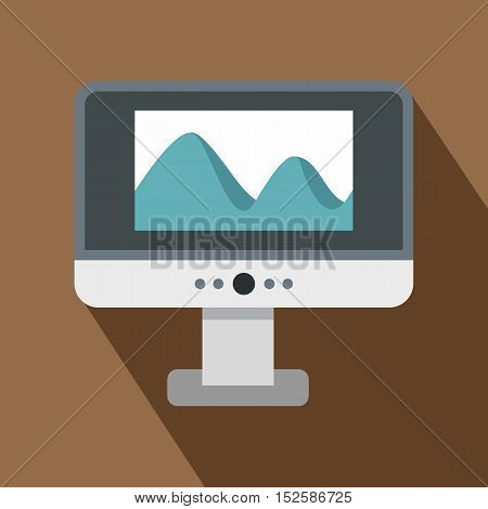 Computer monitor with photo on the screen icon. Flat illustration of computer monitor with photo vector icon for web isolated on coffee background