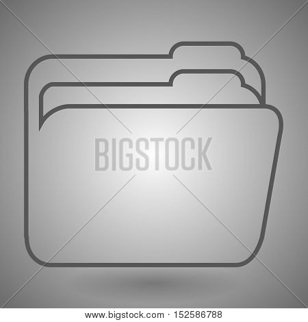 Folder linear icon. Contour symbol. Vector isolated outline drawing.
