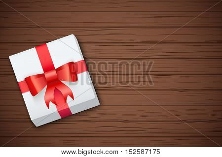 Gift box on brown wooden table. Top view. Winter Holiday xmas background and backdrop. Fairy style. Vector Illustration.