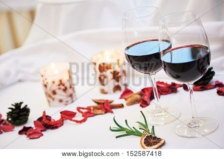 Catering restaurant decoration service. Glasses with wine