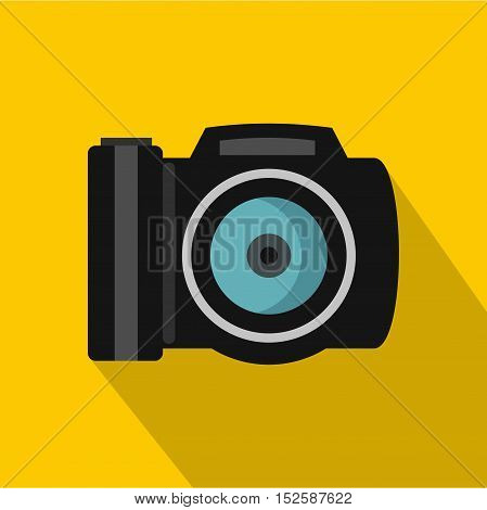 Camera icon. Flat illustration of camera vector icon for web isolated on yellow background
