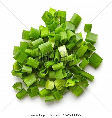 Chopped Spring Onions Isolated On White, From Above