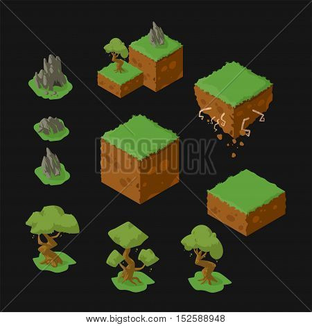 Set of isometric landscape design elements. Floating island earth blocks rocks and stones with a cave trees