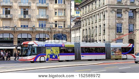 Lucerne, Switzerland - 11 May, 2015: a trolleybus in the center of the city. Lucerne is a city in central Switzerland, it is the capital of the Swiss Canton of Lucerne.