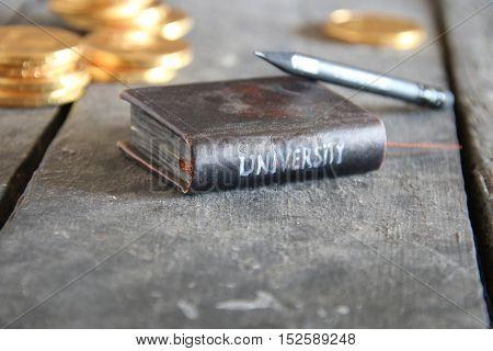 University inscription on the book, vintage style