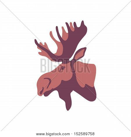 Moose head profile vector illustration style Flat profile