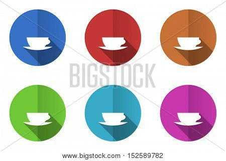 Coffee cup flat vector icons