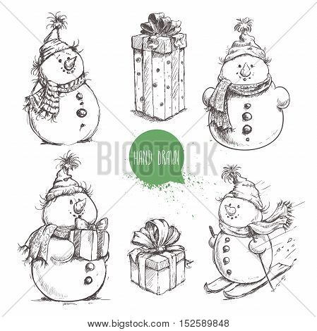 Sketch style snowman and Christmas gift boxes set. Hand drawn vector illustration.