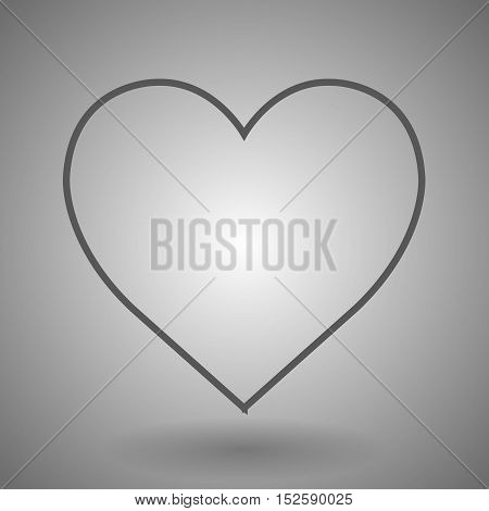 linear heart icon vector illustration on gray background.