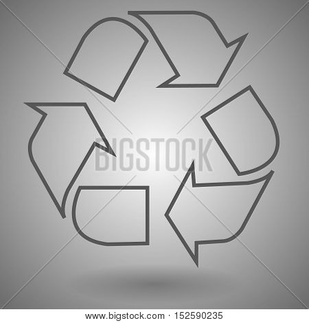 Recycling garbage linear icon vector illustration on gray background.
