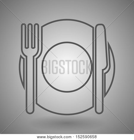 Linear silhouettes of a plate with fork and knife on gray background isolated