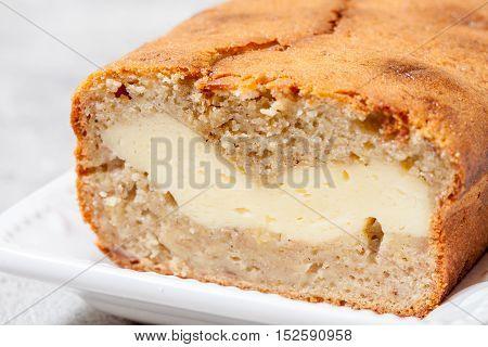 Sliced cream cheese cheesecake filled banana bread