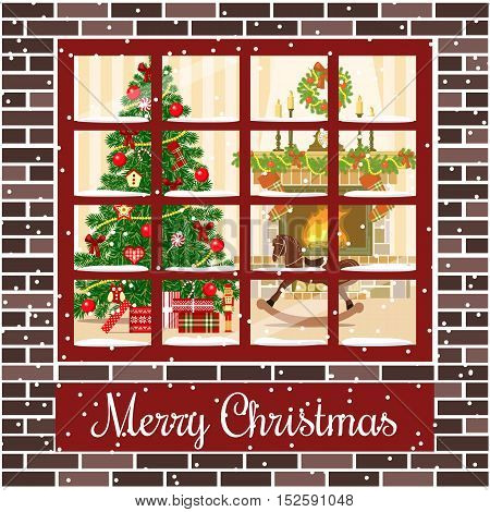 Christmas room with fireplace and xmas tree through the window.Vector illustration. Brown bricks. Illuminated and decorated living room with gifts, toys, xmas tree. For postcard, greetings, poster