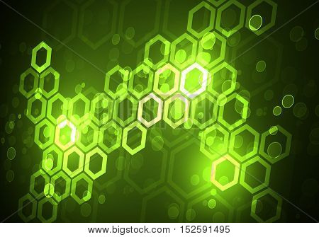 Abstract green connection structure as connection concept on color background