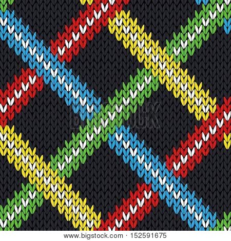 Seamless Knitting Pattern With Colorful Lines