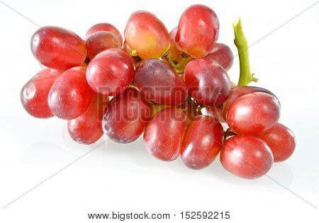 Possible health benefits of grapes with white background, isolated.