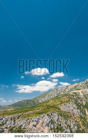 Landscape of the Gorges Du Verdon in south-eastern France. Provence-Alpes-Cote d'Azur.