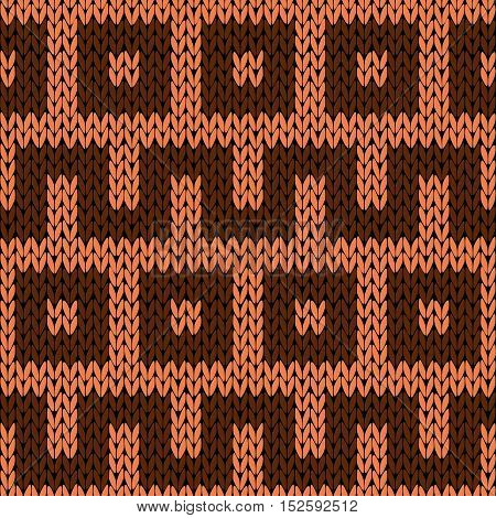Knitting Geometrical Seamless Pattern In Brown Hues