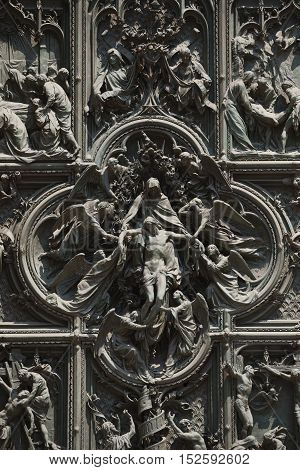 Milan, Italy  - July 01, 2015: Detail of facade of Milan Cathedral or Duomo di Milano is the cathedral church of Milan, Italy.