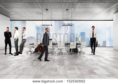 Businessmen in the luxury executive office with city view window
