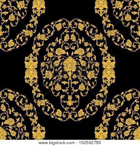 Vector ornate seamless pattern in Eastern style on black background. Ornamental vintage design for wedding invitations and greeting cards. Traditional gold decor