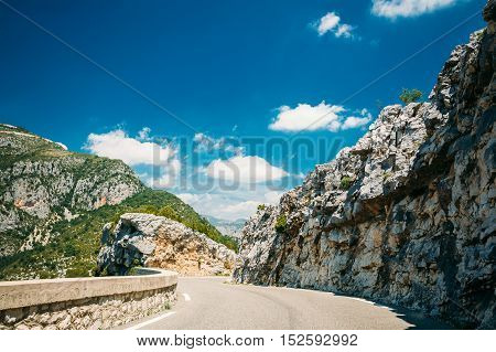 Beautiful Asphalt Mountain Road Under Sunny Blue Sky. Verdon Gorge In France. French Landscape