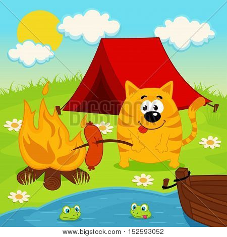 cat relaxing on camping - vector illustration, eps