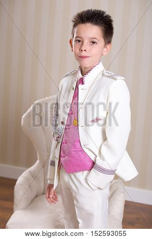 Young Boy In His First Holy Communion