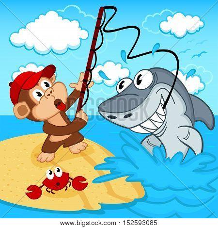 monkey on fishing - vector illustration, eps