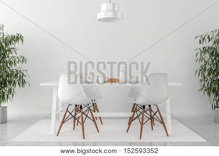 kitchen table and chairs - 3D illustration