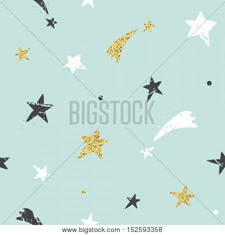 Cute funny seamless pattern background with hand drawn stars. Glitter white and black sparkles on pastel blue. For print and web.