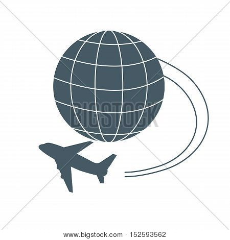 Stylized icon of flights to any point of the earth