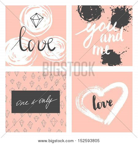 Vector modern love cards, posters for Valentines Day or date, wedding. Hand lettering and brush strokes.