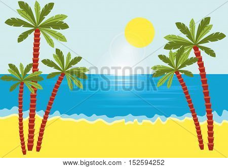 Tropical landscape with beach , sea and palm trees.