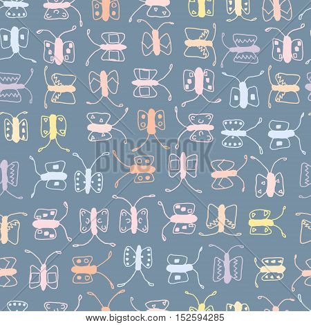 Batterfly seamless vector pattern, background and backdrop.
