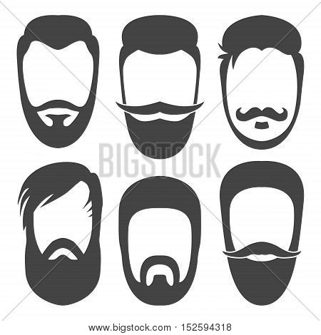Vector hipster beard, mustache, hair style silhouettes. Flat beard icons.