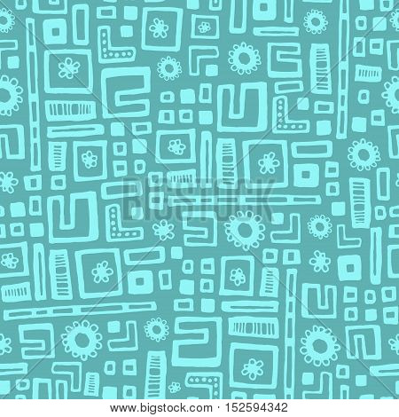 Hand drawn vector geometric seamless abstract pattern.