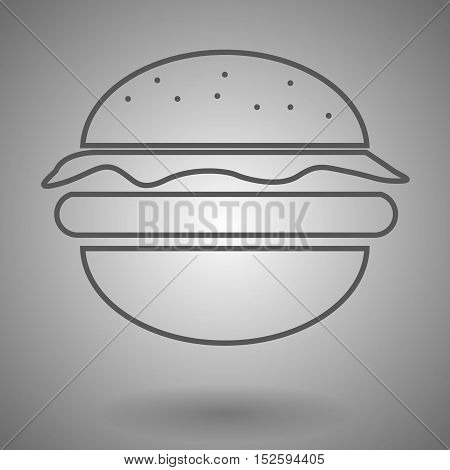 hamburger line icon burger outline vector logo illustration cheeseburger linear pictogram isolated on gray .