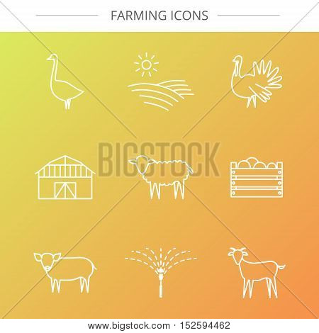 Vector agriculture, farming line icons. Barn watering box field goose turkey sheep pig goat.