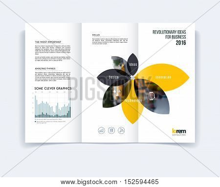 Tri-fold Brochure template layout, cover design, flyer in A4 with geometric flower shapes, diagram infographics for engineering and nature concept. Abstract vector design.