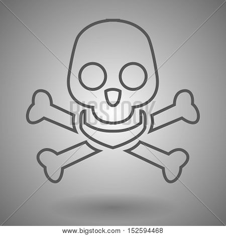 Skull and cross bones line icon for web mobile and infographics. Vector dark grey icon isolated on light grey background