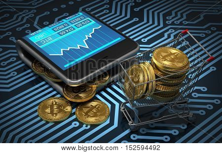 Concept Of Virtual Wallet With Bitcoins And Shopping Cart On Printed Circuit Board. Gold Bitcoins Spill Out Of The Curved Smartphone. 3D Illustration.