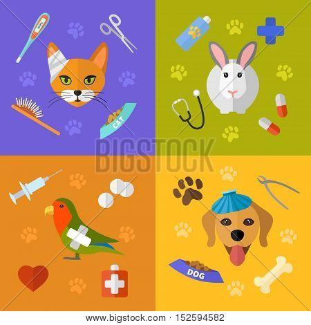 Vector veterinary icons set. Cat dog fish parrot doctors pets medical tools.