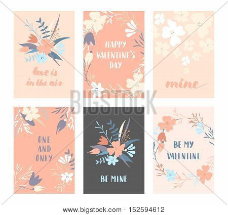 Vector modern love cards and posters for Valentines Day or date, wedding. Hand lettering, flower wreaths.