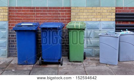 Several Wheeled Plastic Recycling Bins Behind Building