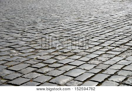 Abstract background of old cobblestone pavement close up.