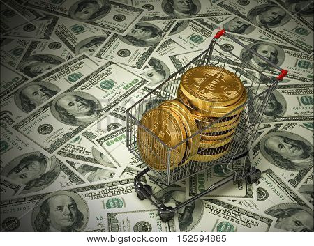 Concept Of Purchased Bitcoins In The Shopping Cart And Dollars. 3D Illustration.