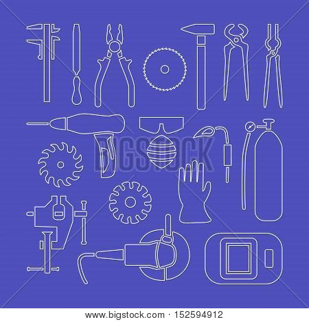 Vector metalworking flat line icons set, collection.